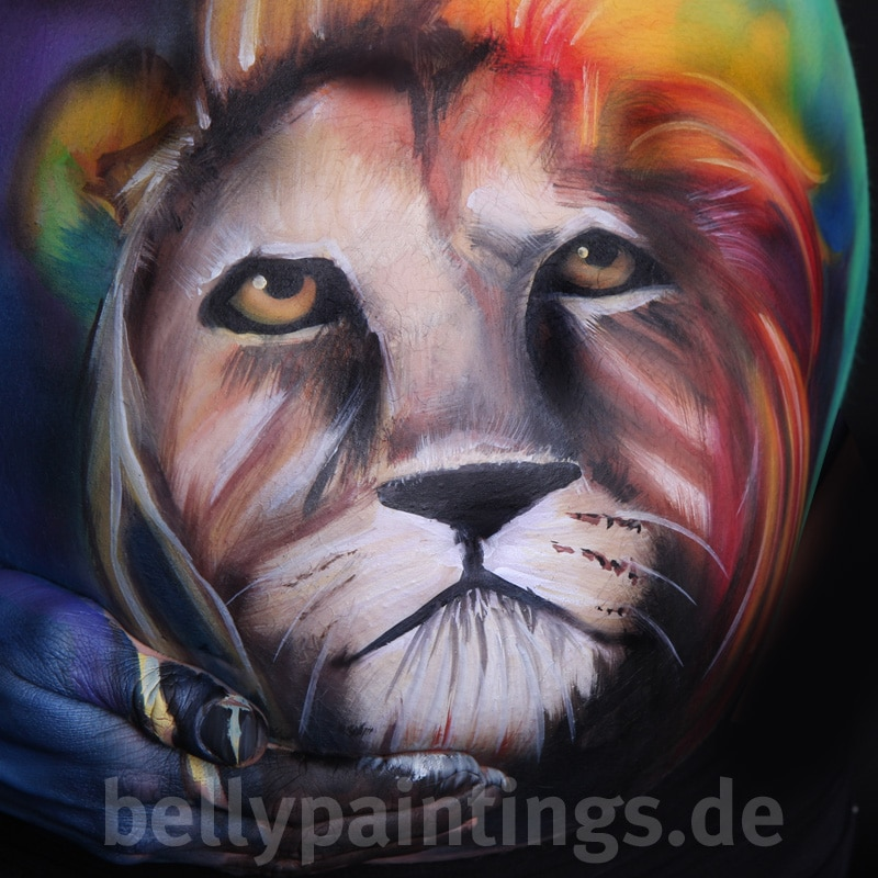 Bauchbemalung Bunter Löwe