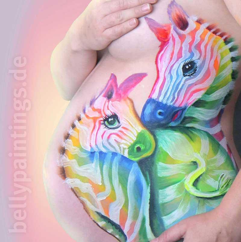 Babybauch bemalen das Bodypainting für Schwangere