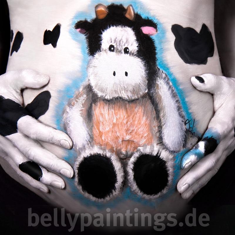 Bauchbemalung Plüschtier Kuh