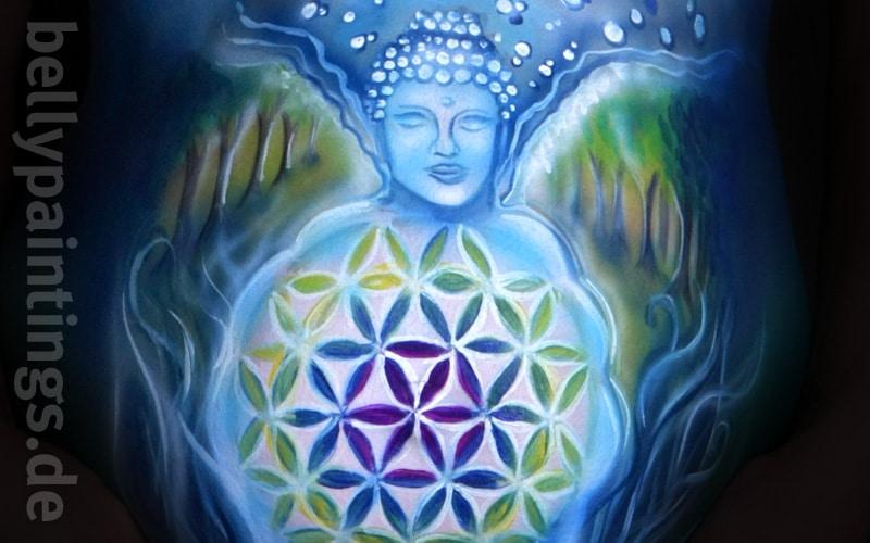 Bauch bemalen Buddha mit Blume des Lebens