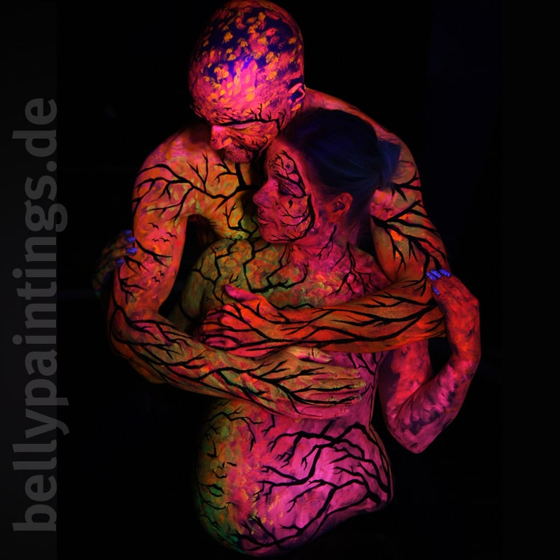 Paar-Bodypainting