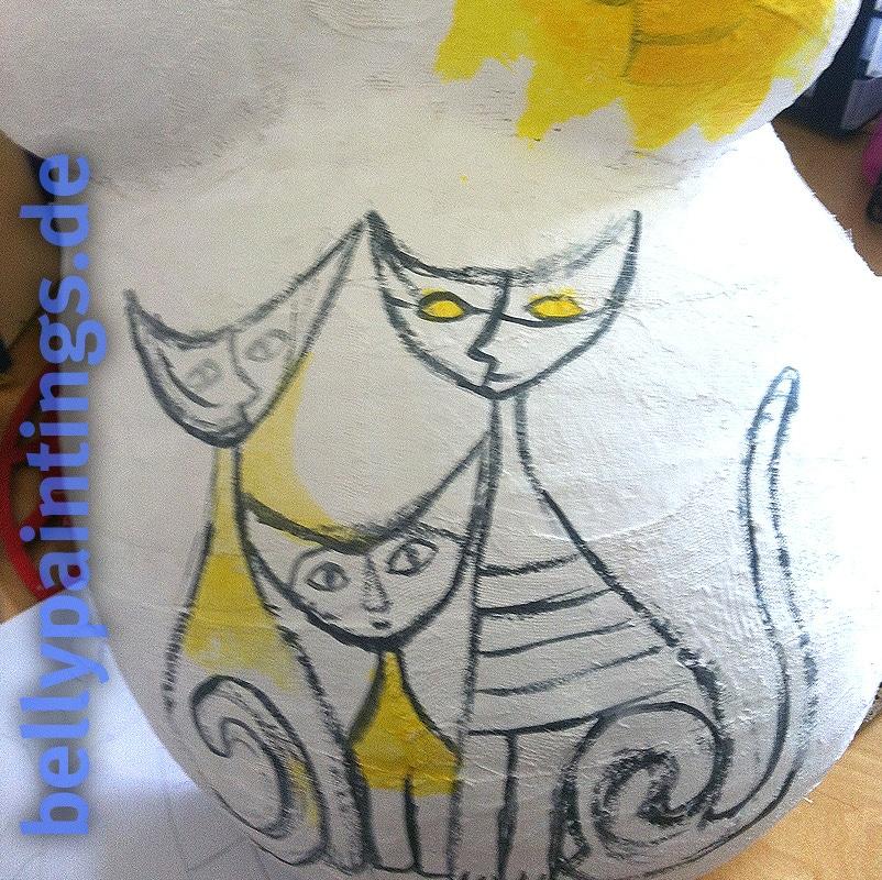 Bauchbemalung vs. Gipsbauch Gipsbauchbemalung Skizze wunderschöne bunte Katzenfamilie schwanger bemalen