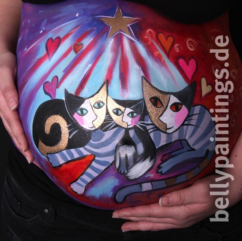 Bauchbemalung vs. Gipsbauch Bellypainting Bauchbemalung wunderschöne bunte Katzenfamilie schwanger bemalen Variation
