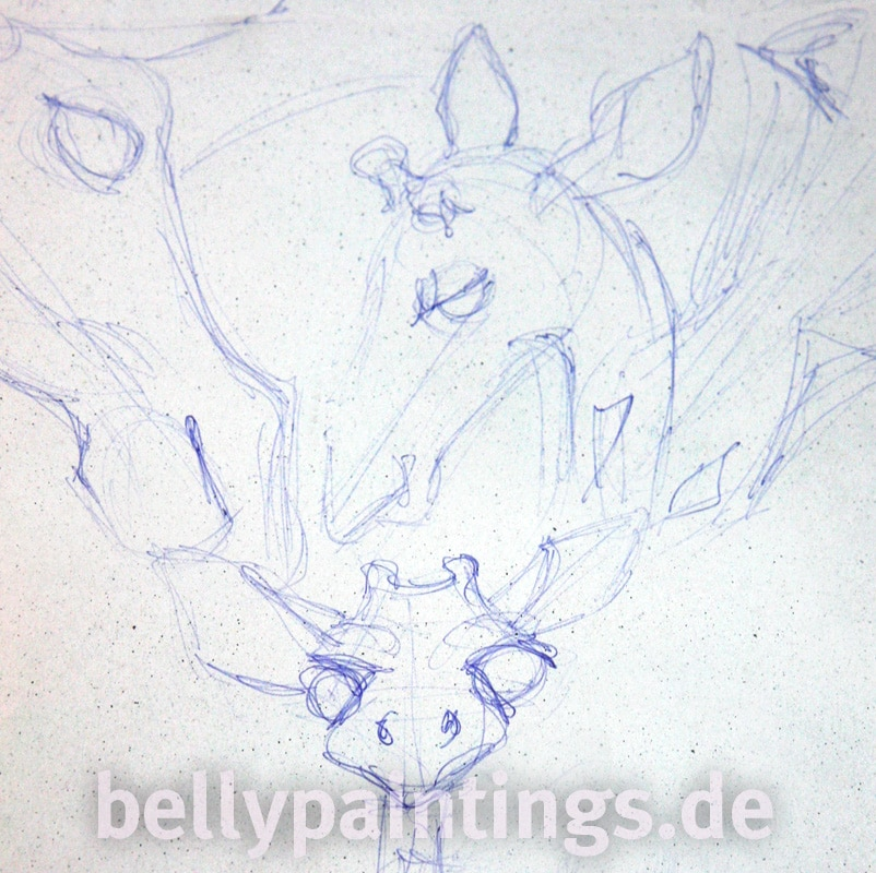 Bauchbemalung als Familienkunstwerk Giraffen Skizze Familie Bellypainting Bodypainting