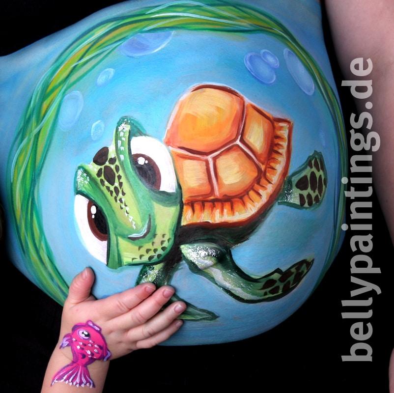 Gutschein für Babybauchbemalung – wundervolle Geschenkidee Bellypainting Bodypainting Schwangerschaft Schildkröte Kinderhand