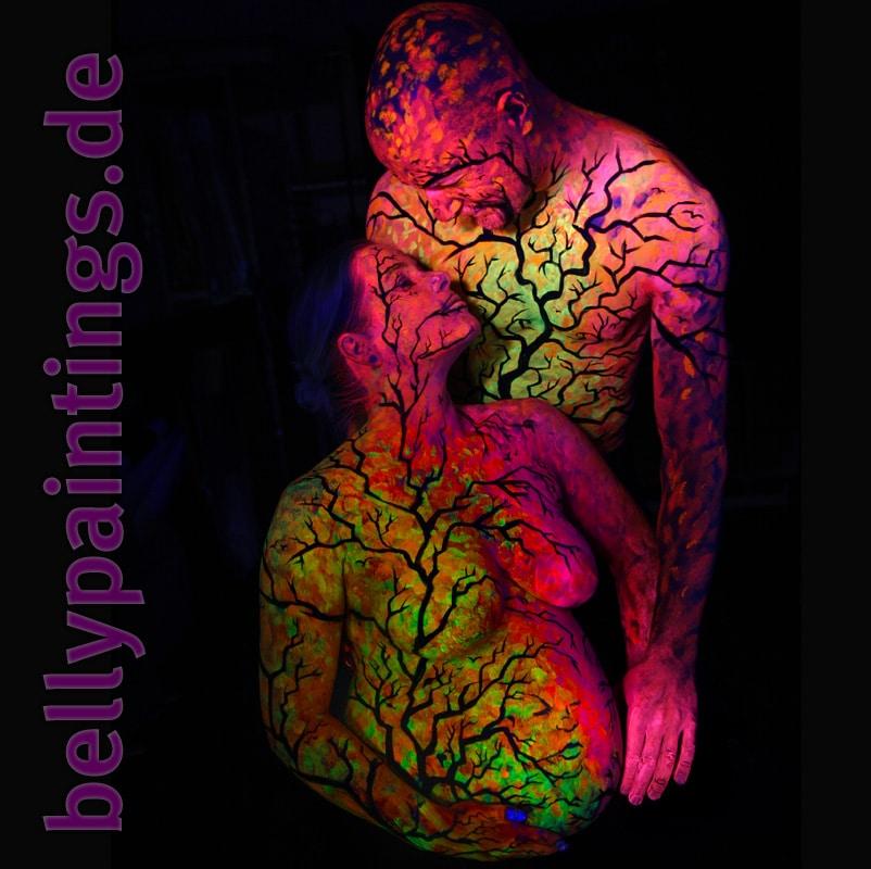 Bodypainting Bauchbemalung Urlaub vom Alltag Neon Schwarzlicht Liebespaar schwangerschaft geschenk Babybauch bemalen
