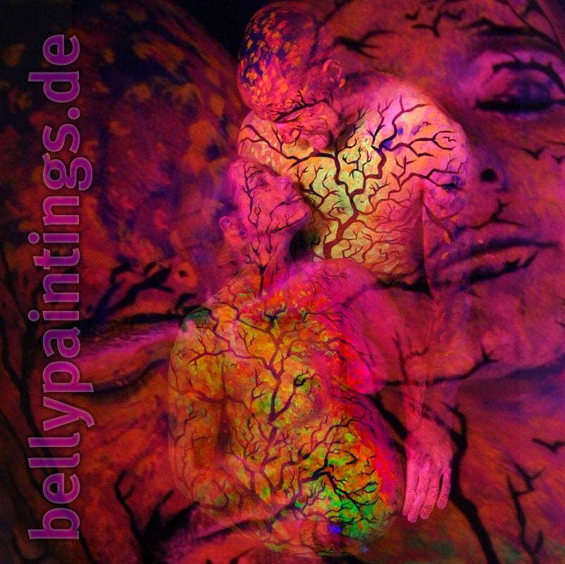 Bodypainting Bauchbemalung Urlaub vom Alltag Neon Schwarzlicht Liebespaar Babybauchmalerei