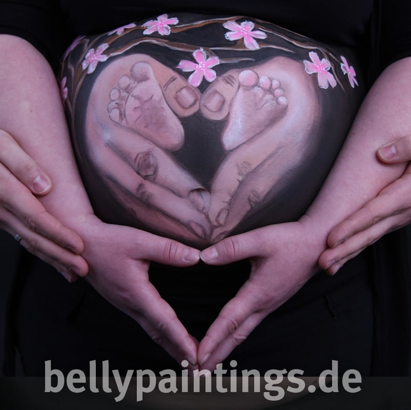 Babybauchbemalung Haendeherz Bellypainting Bodypainting